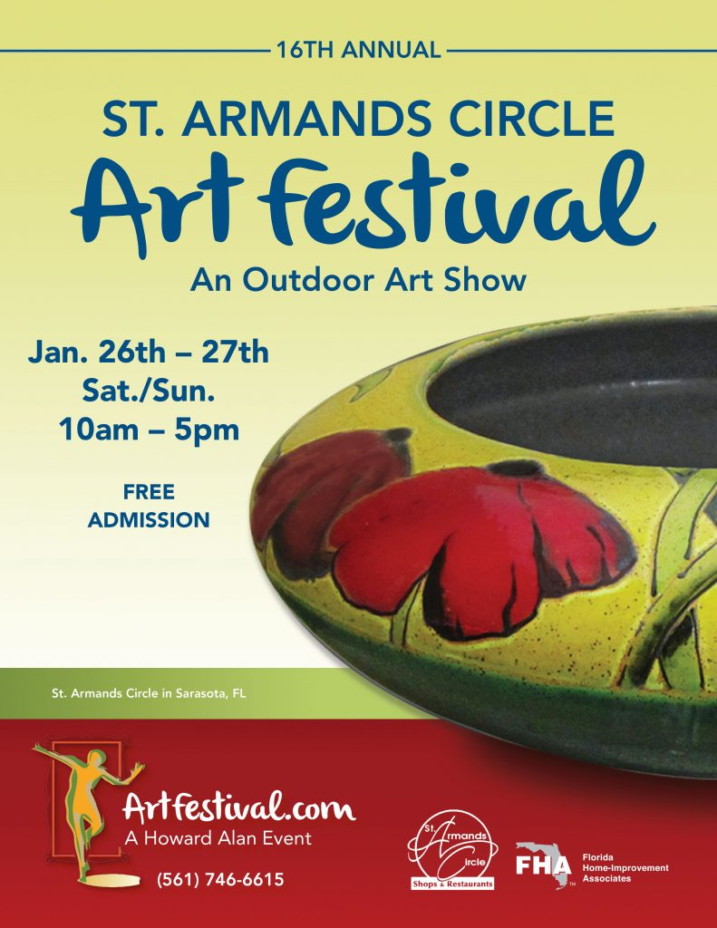 Jan. 26th – 27th,  St. Armands Circle Art Festival
